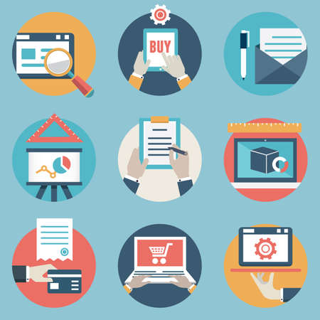 icons and symbols on business management or analytic and e-commerce theme
