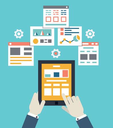 Flat vector illustration of mobile application optimization, programming, design and analytics - vector iilustration