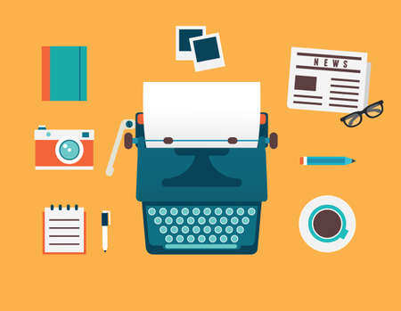 Vector flat illustration of workplace of typewriter with documents and equipment for blog  Old journalism theme - vector illustration