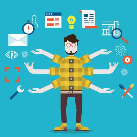 Development and internet service  Human resource and self employment - vector illustration