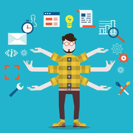 Illustration pour Development and internet service  Human resource and self employment - vector illustration - image libre de droit