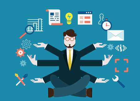 Human resources and self-development  Modern business - vector illustration