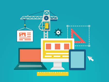 Vector flat illustration of process coding and programming mobile applications for devices  Design and programming - vector illustration