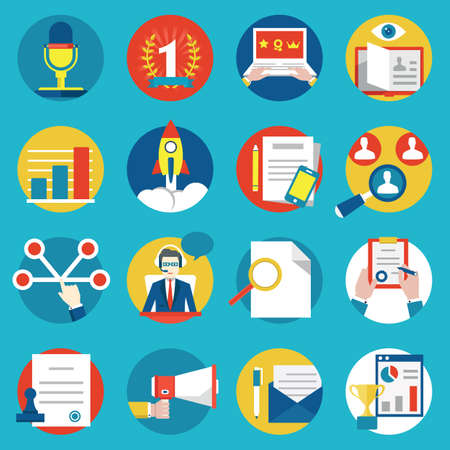 Set of management human resources and customer experience icons - vector icons