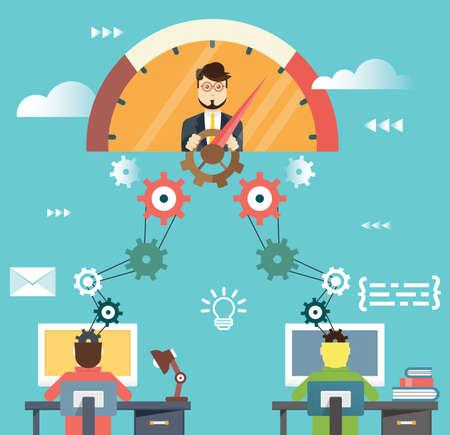 Vektor für Flat infographic of management human resources and business success  - Lizenzfreies Bild