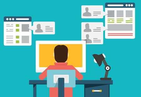 Illustration pour Flat concept of social media - vector illustration - image libre de droit