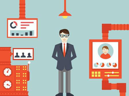 Illustration pour System of  human resources management - vector illustration - image libre de droit