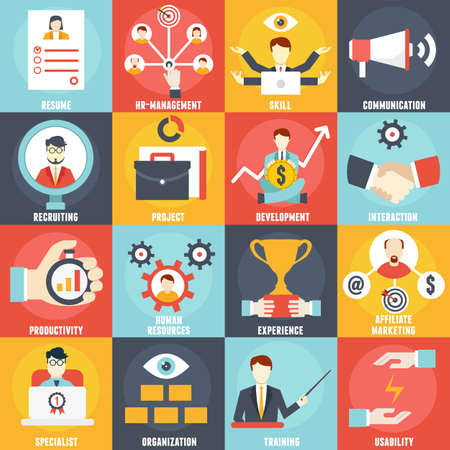Set of Human Resources Management icons - vector icons