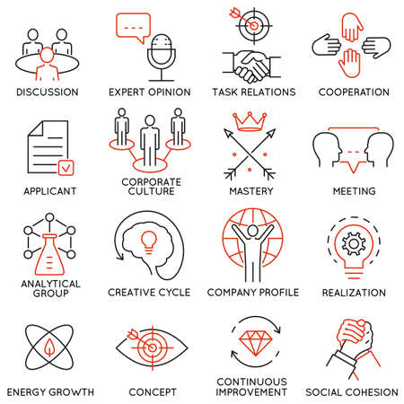Illustration pour Vector set of 16 icons related to business management, strategy, career progress and business process. Mono line pictograms and infographics design elements - part 38 - image libre de droit