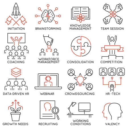 Ilustración de Vector set of 16 linear thin icons related to striving for success, leadership development, career progress and personal training. Mono line pictograms and infographics design elements - part 2 - Imagen libre de derechos