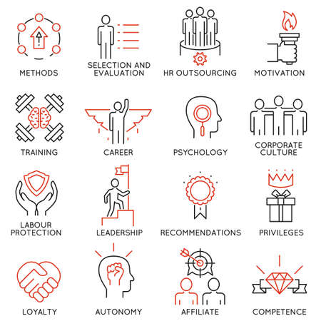 Illustration pour Vector set of 16 linear thin icons related to striving for success, leadership development, career progress and personal training. Mono line pictograms and infographics design elements - part 1 - image libre de droit