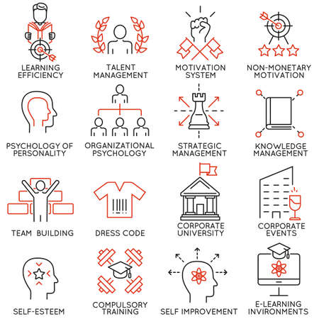 Ilustración de Vector set of 16 linear thin icons related to striving for success, leadership development, career progress and personal training. Mono line pictograms and infographics design elements - part 6 - Imagen libre de derechos