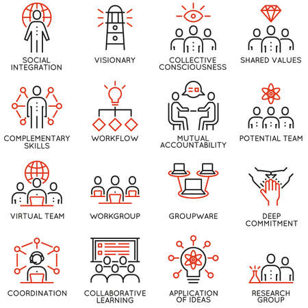 Illustration pour Vector set of 16 linear quality icons related to team work, career progress and business process. Mono line pictograms and infographics design elements - part 3 - image libre de droit