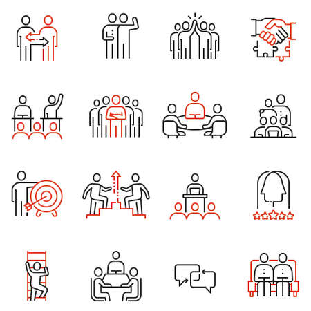 Illustration pour Vector set of 16 linear quality icons related to team work, human resources, business interaction. Mono line pictograms and infographics design elements - part 2 - image libre de droit