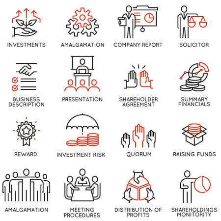Ilustración de Vector set of linear icons related to business process, team work, human resource management and stakeholders. Mono line pictograms and infographics design elements - part 3 - Imagen libre de derechos