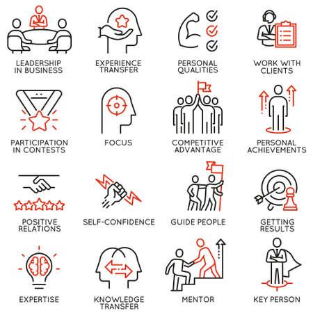 Ilustración de Set of linear icons related to skills, empowerment leadership development and qualities of a leader. - Imagen libre de derechos