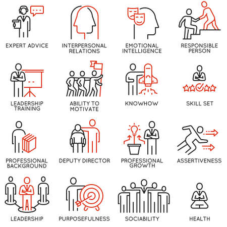 Illustration pour Vector set of linear icons related to skills, empowerment leadership development and qualities of a leader. Mono line pictograms and infographics design elements - part 6 - image libre de droit