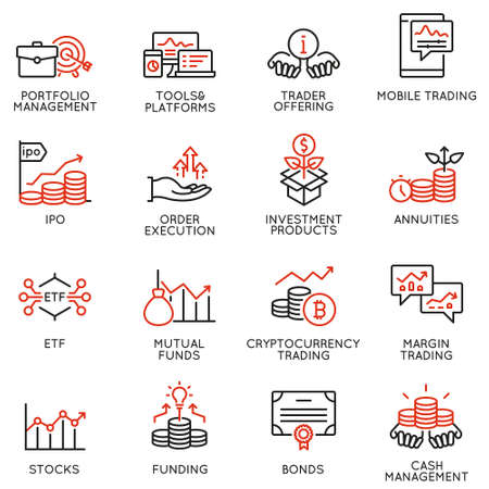 Illustration pour Vector set of linear icons related to investment, financial advice and business management. Mono line pictograms and infographics design elements - part 4 - image libre de droit