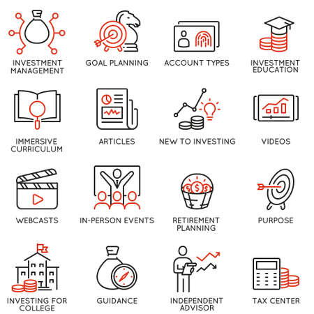 Illustration pour Vector set of linear icons related to investment, financial advice and business management. Mono line pictograms and infographics design elements - part 5 - image libre de droit