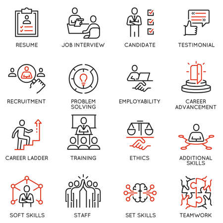 Illustration pour Vector Set of Linear Icons Related to Leadership Skills for Workplace Success. Mono line pictograms and infographics design elements - image libre de droit