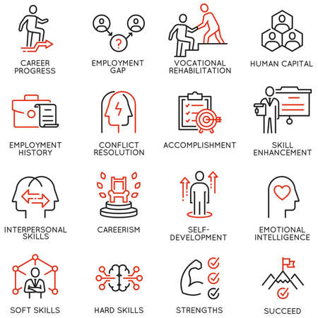 Illustration for Vector Set of Linear Icons Related to Remote Work, Find a Job, Employment, Freelance and HR. Mono Line Pictograms and Infographics Design Elements - part 2 - Royalty Free Image