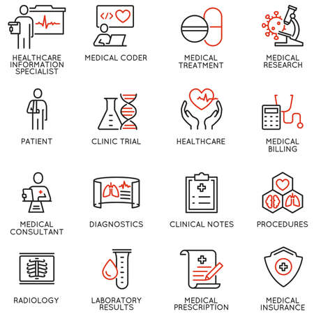Illustration pour Vector Set of Linear Icons Related to Health Information Management and Clinical Coder. Mono Line Pictograms and Infographics Design Elements - image libre de droit