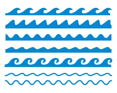 Illustration for Line illustration image of various waves - Royalty Free Image