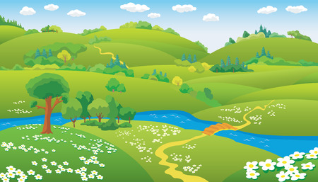 Summer Landscape, hills and the river on the plain, vector illustration