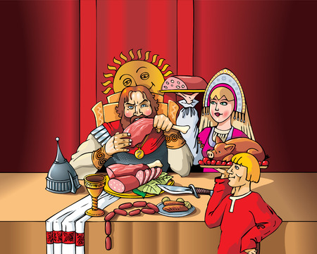 The Duke eating the meal during the feast, servants set the table, Middle Ages, medieval Russia, vector illustration