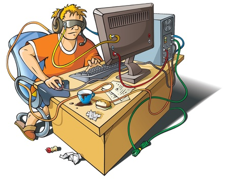 Computer addiction: young man immersed himself in virtual world, merged with computer, vector illustration