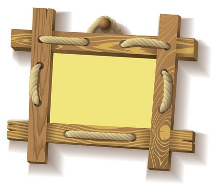 Frame of wooden boards hanging on crude rope, Vector illustration