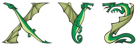 Series of dragons alphabet, letters X,Y,Z, fantasy dragon shape font, vector illustration