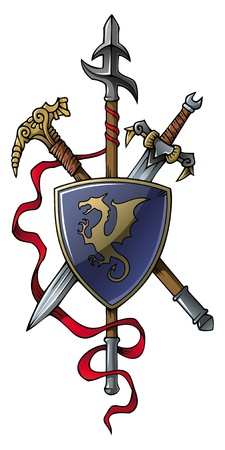 Coat of arms: spear, sword, hammer and shield, vector illustration