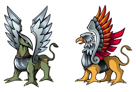 Two fantastic griffins, in armor, with metal wings, vector illustration