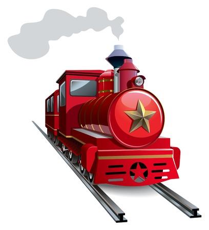 Old steam locomotive with golden star,