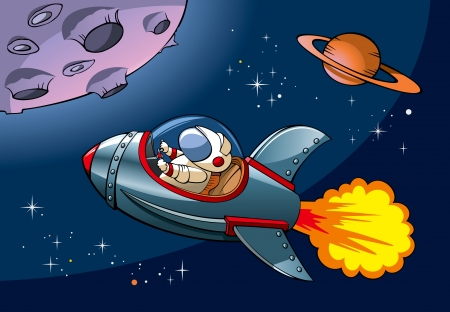 Spaceship with astronaut approaching a planet,
