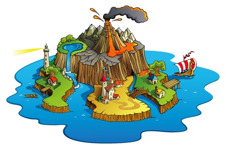 Fairy tale landscape, wonder island with town and villages, cartoon illustration