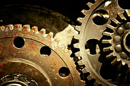 Mechanical gears close up, industrial grunge background