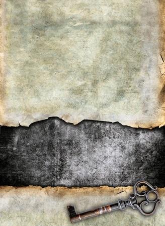 Grunge torn surface with antique key, vintage background