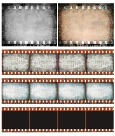 Grunge color filmstrip texture, scratched photo film frame background