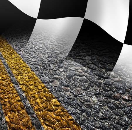 Racing flag and road