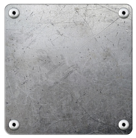 Metal plate with rivets on white background