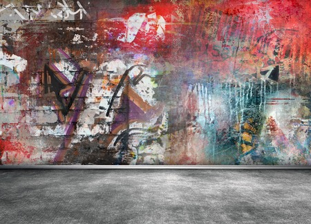 Graffiti wall room interior