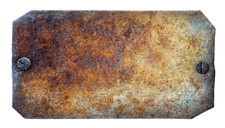 Rusty metal plate on white background