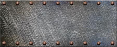 Photo pour Steel plate with rivets - image libre de droit