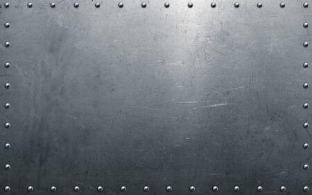 Photo pour Metal texture, steel background with rivets - image libre de droit