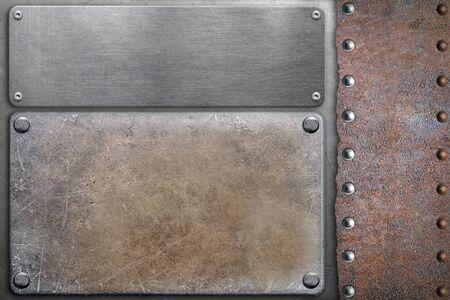 Photo pour Metal plates on steel background - image libre de droit