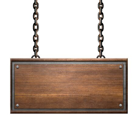 Photo pour Vintage sign board with rusty chains link on white background - image libre de droit