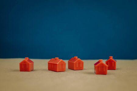 Photo pour bunch of red little houses, construction concept. - image libre de droit