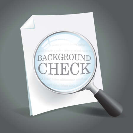 Reviewing a background check report with a magnifying glass